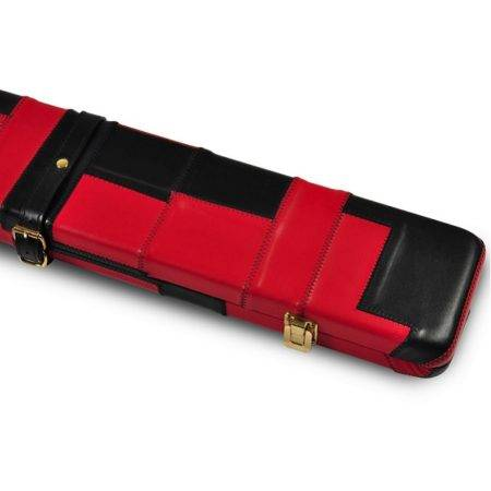Peradon Black Red Leather Cue Case 3QTR