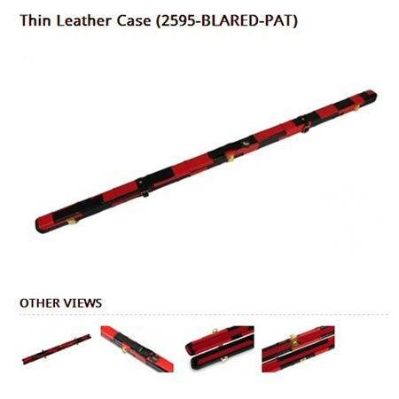 Leather Cue Case Black and Red Patchwork thin