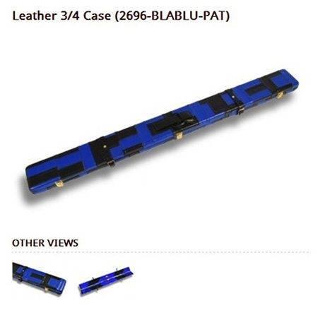 Peradon Leather Cue Case Black and Blue Patchwork