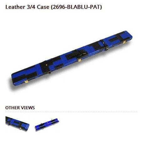 Peradon Leather Cue Case Black and Blue Patchwork